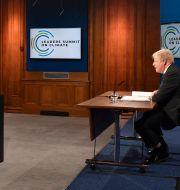Storbritanniens premiärminister Boris Johnson talar under inledningen av Joe Bidens klimatmöte Justin Tallis / TT NYHETSBYRÅN