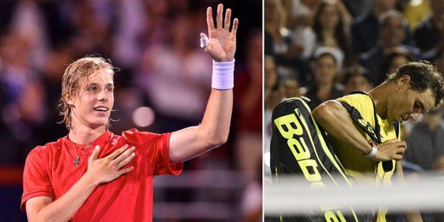 Denis Shapovalov och Rafael Nadal.  TT