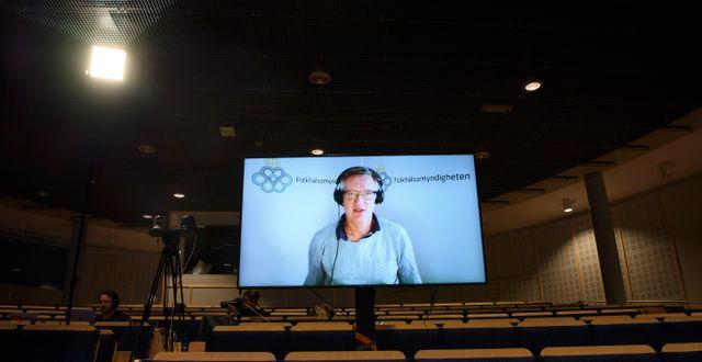 Anders Tegnell vid en digital pressträff i januari. Jessica Gow/TT / TT NYHETSBYRÅN