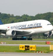 Ett Singapore Airlines-plan på Changi-flygplatsen i Singapore WONG MAYE-E / TT NYHETSBYRÅN