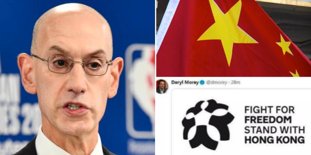 NBA:s kommissionär Adam Silver / Daryl Moreys tweet. TT