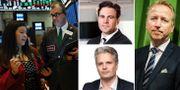 Till vänster: Handlare på börsgolvet i New York. Övre bilden i mitten: Erik Hansén, analytiker på IG Markets. Nedre bilden i mitten: SEB:s chefsstrateg Johan Javeus. Till höger: Investeraren Jonas Olavi.