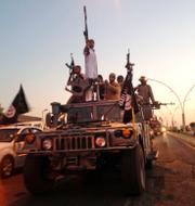 IS-anhängare i Mosul, Irak, 2014 (t v), Mikael Damberg (t h).  TT