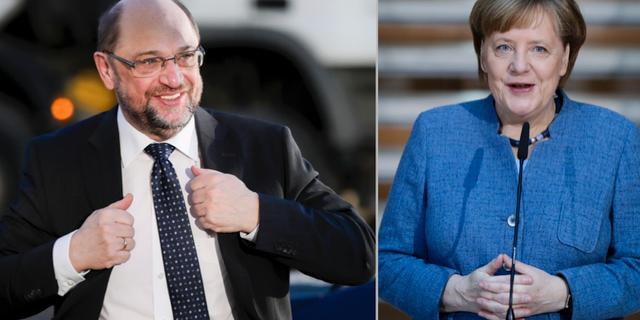 Martin Schulz och Angela Merkel. TT