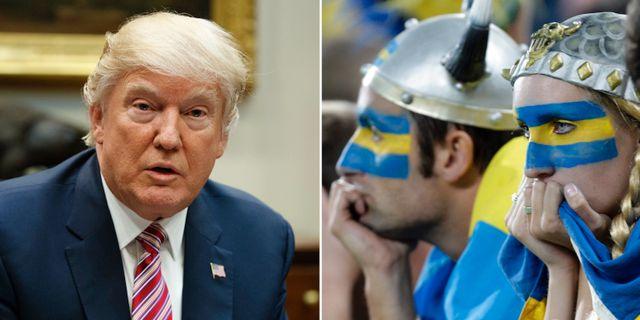 Donald Trump/Svenska fans vid fotbolls-EM.  AP
