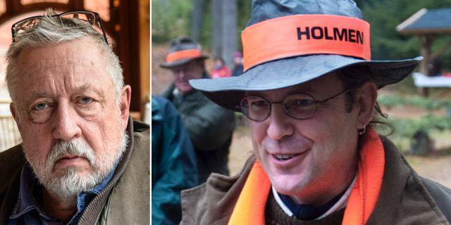 Leif GW Persson/Anders Borg på jakt med Holmen. TT