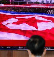 Nordkoreansk flagga.  Lee Jin-man / TT NYHETSBYRÅN