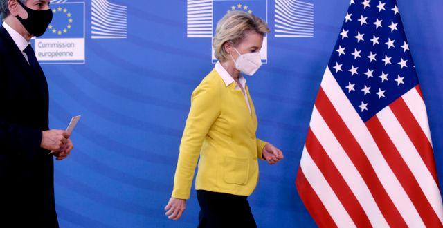 Ursula von der Leyen efter ett möte med USA:s utrikesminister Antony Blinken. Olivier Hoslet / TT NYHETSBYRÅN