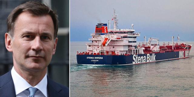 Storbritanniens utrikesminister Jeremy Hunt och brittiska fartyget Stena Bulk. TT