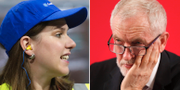 Liberaldemokraternas partiledare Jo Swinson och Labours dito Jeremy Corbyn. TT