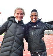 Sara Lahti och Meraf Bahta. Jonas Ekströmer/TT / TT NYHETSBYRÅN