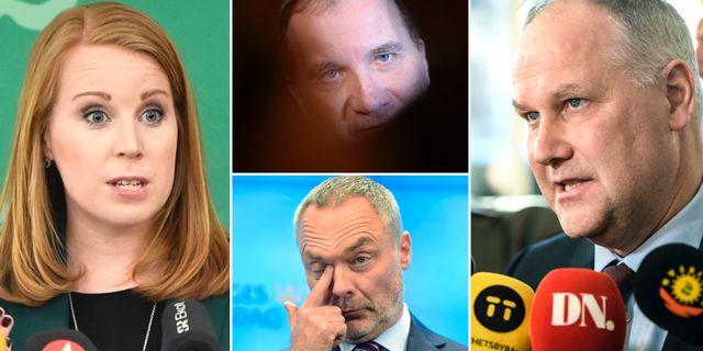 Lööf, Löfven, Björklund och Sjöstedt. TT