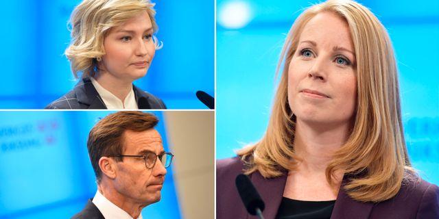 Ebba Busch Thor (KD)/Ulf Kristersson (M)/Annie Lööf (C). TT
