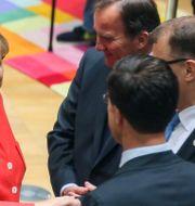 Tysklands Angela Merkel, Portugals Antonio Costa, Sveriges Stefan Löfven, Finlands Juha Sipila och Nederländernas Mark Rutte under Europeiska rådets förra året. STEPHANIE LECOCQ / POOL