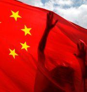 Pro-kinesisk demonstrant håller upp Kinas flagga i Hongkong. Kin Cheung / TT NYHETSBYRÅN