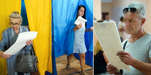 Ukrainska medborgare röstar i parlamentsvalet. TT
