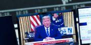 Illustrationsbild: Trumps tal följs på börsskärm i Frankfurt. RALPH ORLOWSKI / TT NYHETSBYRÅN