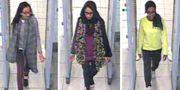 Övervakningsbild visar hur Begum (mitten) och två andra flickor lämnar London för att ansluta sig till terrogruppen IS i Syrien 2015. TT NYHETSBYRÅN