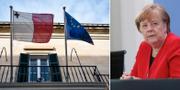 Bild på maltesiska flaggan/Angela Merkel (Arkivbild). TT