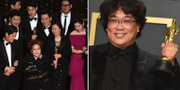 Filmens skådespelare och regissören Bong Joon Ho på Oscarsgalan. TT