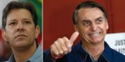 Fernando Haddad och Jair Bolsonaro. TT