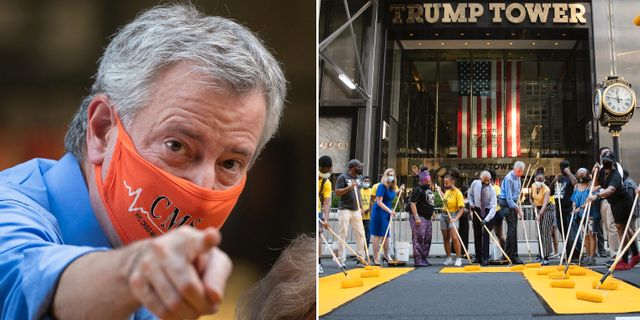 "New Yorks borgmästare Bill de Blasio målar ""Black lives matter"" utanför Trump Tower. TT"