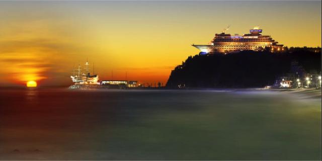 Läget på toppen av klippan är minst sagt annorlunda. Sun Cruise Resort & Yacht