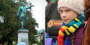 Staty över Karl XII i Stockholm/Greta Thunberg TT/AP