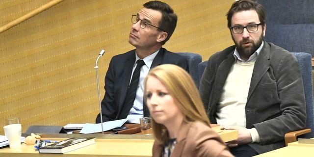 Arkivbild: Centerpartiets partiledare Annie Lööf och Moderaternas partiledare Ulf Kristersson. Claudio Bresciani/TT / TT NYHETSBYRÅN