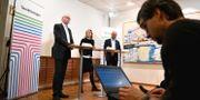 Klas Wåhlberg, Maria Möller och Tomas Undin från Teknikföretagen under en pressträff där facken och arbetsgivarna kommenterar kraven sker efter kravväxlingen. Karin Wesslen/TT / TT NYHETSBYRÅN
