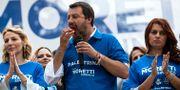 Matteo Salvini under ett valmöte nära Rom.  Massimo Percossi / TT NYHETSBYRÅN/ NTB Scanpix