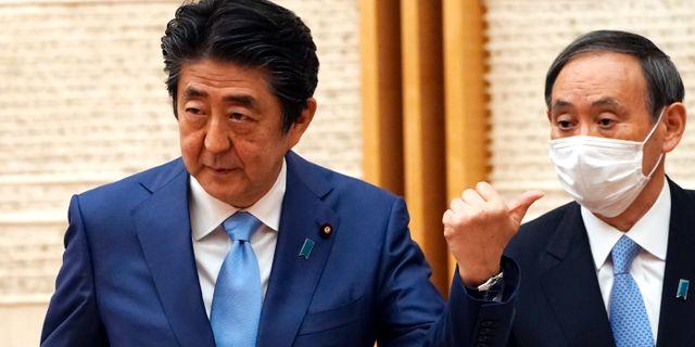 Arkivbild: Japans premiärminister Shinzo Abe och kabinettsministern Yoshihide Suga. Eugene Hoshiko / TT NYHETSBYRÅN