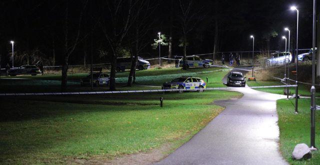 Polisens tekniker arbetar på platsen. Dennis Glennklev/TT / TT NYHETSBYRÅN