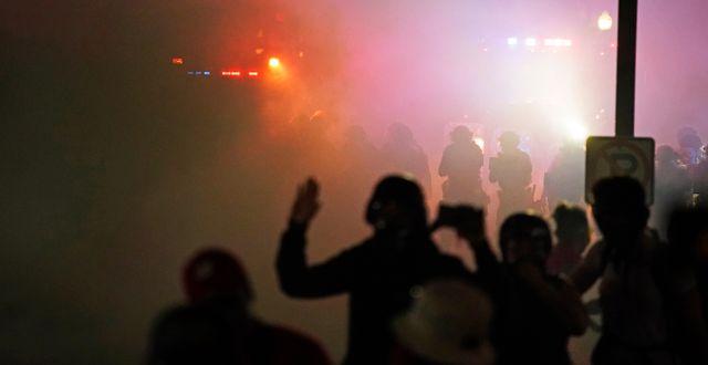 Protesterna har pågått i flera dygn. David Goldman / TT NYHETSBYRÅN