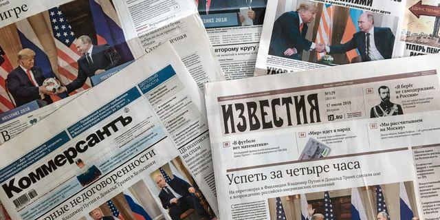 Omslaget på ryska tidningar efter Putins möte med Trump. MLADEN ANTONOV / AFP