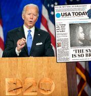 Joe Biden/USA Todays förstasida på tisdagen. Andrew Harnik / TT NYHETSBYRÅN