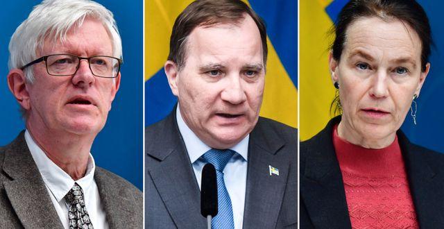 Folkhälsomyndighetens gd Johan Carlson/statsminister Stefan Löfven/Socialstyrelsens gd Olivia Wigzell. TT