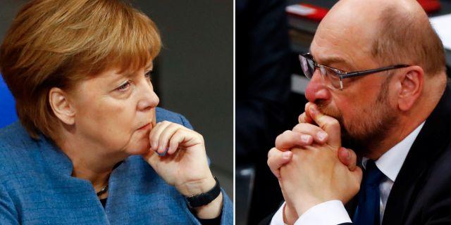 Angela Merkel och SPD:s Martin Schulz. FABRIZIO BENSCH / TT NYHETSBYRÅN