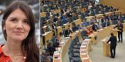 Jenny Madestam. Stefan Löfven (S) och Ulf Kristersson (M) debatterar under den sista partiledardebatten i riksdagen före valet. TT