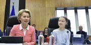 EU-kommissionens ordförande Ursula von der Leyen och Greta Thunberg i EU-högkvarteret under onsdagen JOHN THYS / TT NYHETSBYRÅN