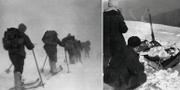Bild från expeditionen på Cholat Siachyl i Uralbergen/tältplatsen undersöks efter händelsen. Dyatlovpass.com/Wikimedia