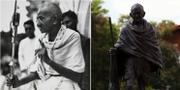 Mahatma Gandhi och statyn av honom i Ghanas huvudstad Accra. TT