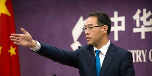 Gao Feng, talesperson på kinesiska handelsministeriet.  Mark Schiefelbein / TT / NTB Scanpix