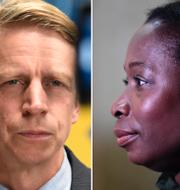 Ebba Busch (KD), Per Bolund (MP), Nyamko Sabuni (L) TT