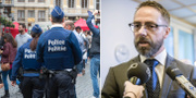 Belgiska poliser efter terrorattentaten i Bryssel 2016 / Hans Ihrman. TT