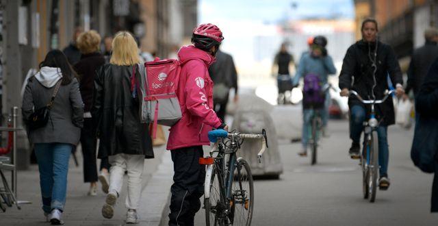 Arkivbild. Cykelbud på Götgatan i Stockholm. Janerik Henriksson/TT / TT NYHETSBYRÅN