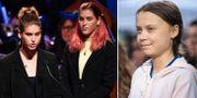 Skolstrejkarna Isabelle och Sophia Axelsson talar för Greta Thunberg på prisutdelningen/Thunberg. TT