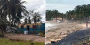 Bilder från det drabbade området.  TT