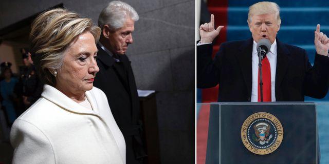 Hillary och Bill Clinton under Donald Trumps installation. TT