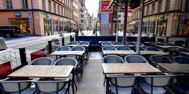 Öde Drottninggatan i Stockholm. Jonas Ekströmer/TT / TT NYHETSBYRÅN